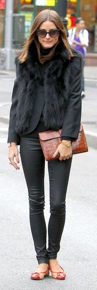 Who made Olivia Palermo's black vest, clutch, black pants and ballet flats that she wore in New York on October 20, 2010? Vest – Haute Hippie  Pants – Members Only  Purse – Hermes Jige clutch  Sunglasses – Christian Dior  Shoes – Sturdy French Sole