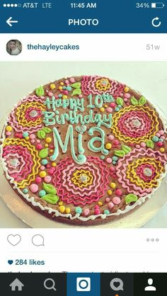 Beautiful cookie cake by Hayleycakes and cookies Birthday Cake Cookies, Cupcake Cookies, Cookie Cakes, Cupcakes, Cookie Cake Designs, Cookie Cake Decorations, Cookie Decorating, Cookie Ideas, Iced Cookies