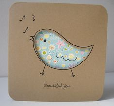 Card stock, Cut out design,  Fabric :::: the loveliest of cards by gugy, via Flickr