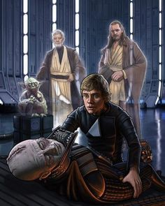 Luke morns his father's death. Onlooking is Master Yoda, Obi-Wan Kenobi, and Qui-Gon Jinn.