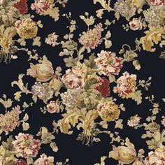 Sussex Gardens Floral - Black - Florals - Wallcovering - Products - Ralph Lauren Home - RalphLaurenHome.com