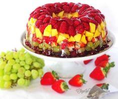 Fruity Gelatin Bundt Cake Dessert - Olga in the Kitchen Fruit Gelatin Recipe, Jello With Fruit, Fresh Fruit Cake, Gelatin Recipes, Fruit Recipes, Dessert Recipes, Crowd Recipes, Fruit Cakes, Fruit Juice