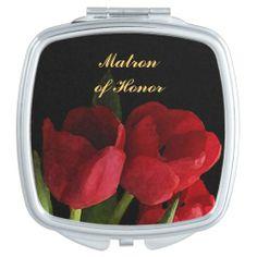 Red Tulips Wedding Matron of Honor Vanity Mirror