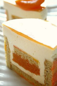 Apricot White Chocolate Mousse cake | Cake layers: pistachio… | Flickr