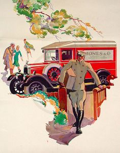 Standard Car, The all British Standard Delivery, Postman, Mail Service, 1930s A3 Print