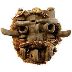 """Guere Masks, Liberia and Ivory Coast   The ferocious aspect of Guere masks - bulging eyes, open mouths and sometimes protruding horns - accounts for their identification as """"war"""" masks but, according to Jean-Baptiste Bacquart { in his The Tribal Art of Africa publication}, they are worn primarily during funerals and - in a""""detective"""" capacity - to single out guilty persons."""