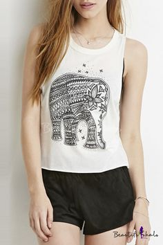 101ea6a48cb4dc We-buys Elephant Graphic Muscle Tank Top Sleeveless White Tee