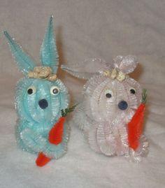 2 Vtg Pipe Cleaner Easter Bunnies Pink Blue Chenille Bunny Rabbit Styrofoam