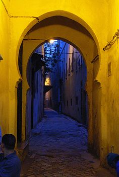 Gorgeous colors in this shot of a Moorish arched passageway.