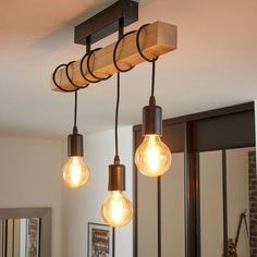 Townshend-plafonnier 3 lumières barre bois l55cm noir Eglo Lighting | La Redoute