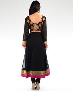 Black Kalidar Suit with Golden Zari Embroidery - Exclusively In