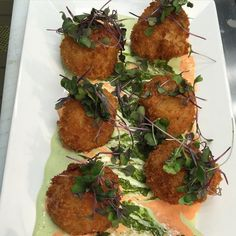 Fried scallop appetizer with basil pesto basil pesto aioli and red bell pepper coulis topped with #microgreens. #BLVD #blvdseafood #cheflife #chef #chefmarybass #cheffeature #chefheart #truecooks #truecooksstreetteam #theartofplating #scallops #fried #basil #redbellpeppercoulis #seafood #seafoodadventures #thechefwillmakeyouwhateveryouwant #italian #pankobreadcrumbs by chefmarybass