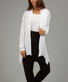 Look what I found on #zulily! White Knit Sidetail Open Cardigan #zulilyfinds