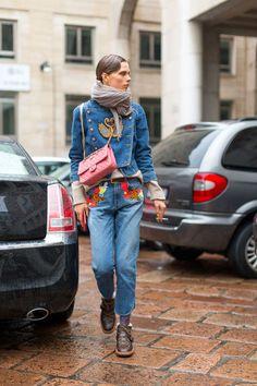 fed2aecd774c 100+ photos of Milan fashion week s street style  Denim on denim ensemble  Fashion Week