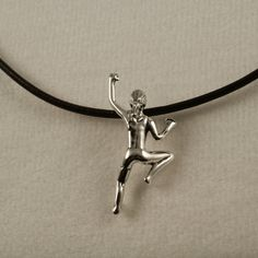 Climbing Girl Necklace Sterling Silver Brown Leather. #RockClimbingJewelry #Etsy #Etsyclimbersteam