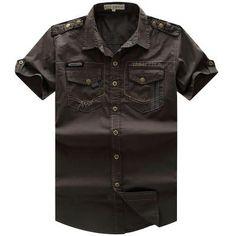 New Men Cargo Shirt Men's Fashion Shirt Short Sleeve Mens Casual Work Cotton Solid Zipper for Man Plus Size 55885 Cargo Shirts, Hiking Shirts, Denim Shirts, High Fashion Men, Mens Fashion, Work Casual, Men Casual, Plus Size Hoodies, Safari Shirt