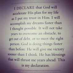 God will accelerate His plan