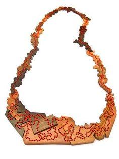 Sachiyo Higaki - necklace (wood, thread) 2010  http://higakisachiyo.com/works.8.html