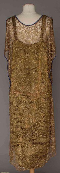 Evening Dress (image 3) | 1920s | lace, lame, sapphire beads | Augusta Auctions | April 20, 2016/Lot 251