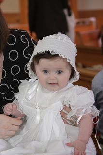 Sweet baby Caroline in her Christening Dress.
