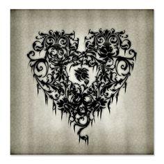 gothic curtains | Anti Gifts > Anti Bathroom > Ornate Gothic Black Heart Shower Curtain