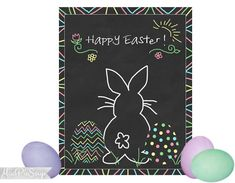Easter Bunny Chalkboard Eggs Poster by MudPieSoup on Etsy