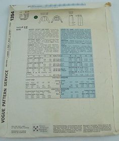 Vtg-Vogue-American-Designer-1354-Perry-Ellis-Jacket-Skirt-Size-12-Bust-34-70-80s