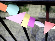 DIY Geo-Shapes Garland >> http://blog.diynetwork.com/maderemade/how-to/make-a-geo-shape-garland/?soc=pinterest