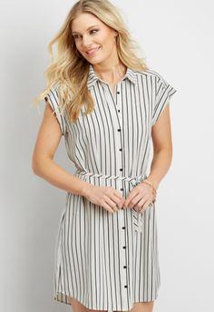 Button-down Striped Shirt Dress