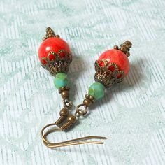 bohemian earrings coral and turquoise dangle earrings beaded earrings stone earrings bronze coral red red boho earrings boho jewelry boho