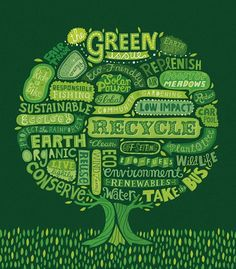 This image shows a green try which contains several words.  Words such as recycle, conserve, and green are all displayed as parts of the tree.  They are all ways in which we can keep the earth much cleaner and more sustainable.