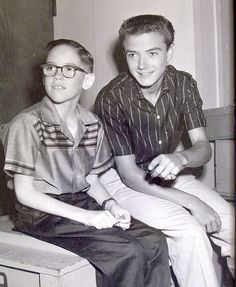 Tim Consadine and Barry Livingston of My Three Sons Tim Considine, Rockabilly Outfits, Rockabilly Clothing, Original Mickey Mouse, My Three Sons, 70s Tv Shows, Shady Tree, American Bandstand, Becoming A Writer