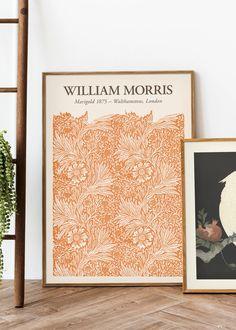 Orange Wall Art, Orange Walls, William Morris Art, Poster Store, Iris Flowers, Nature Prints, Marigold, Presentation Design, Poster Wall