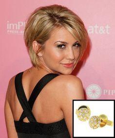 Chelsea Kane wearing pave diamond ball studs