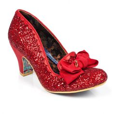 Irregular Choice Kanjanka - Dance the night away in our magical slipper style mid heels featuring red glitter uppers with metallic scalloped trim and grosgrain ribbon bows. Red Glitter Shoes, Metallic Shoes, Red Shoes, Comfy Wedding Shoes, Irregular Choice Shoes, Bow Heels, Shoes Heels, Court Shoes, Bridal Shoes