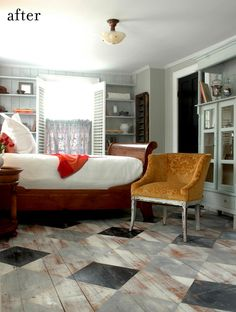 100% LOVE the painted/stained diamond wood floor. Add a red argyle stripe? YES.