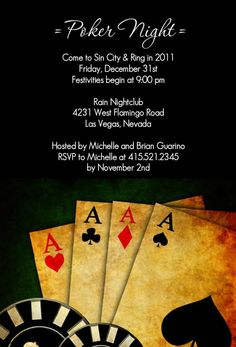 Poker Night In Vegas Casino Party Invitation by PurpleTrail.com
