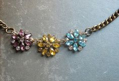 Vintage Rhinestone Flower Necklace / Repurposed Vintage Jewelry / The Three Graces.  Site: Etsy; Shop: hollyglimmer; Shop owner: Holly