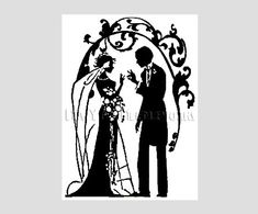 art deco Cross Stitch Patterns | Art Deco Bride and Groom Cross Stitch, Bride and Groom, Wedding Cross ...
