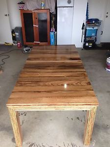 recycled timber table, recycled hardwood fence pailings