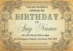 Typography Vintage Brown Postcard Personalised Birthday Party Invitations