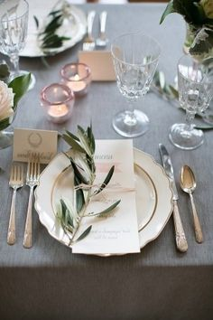 Grey/blush/rose gold and olive branch table setting - beautiful!