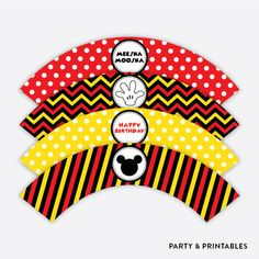 Mickey Mouse Cupcake Wrappers / Non-Personalized / Instant Download (PKB.19)