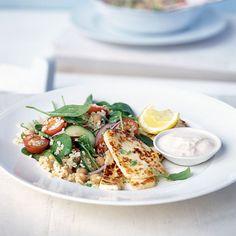 ... salad recipe of halloumi, bulgur wheat, chickpeas and spinach
