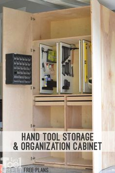 Woodworking Tools Garage Hand Tool Storage Cabinet Plans - Her Tool Belt - Build a garage storage cabinet to organize tools, supplies and equipment. With giant doors to give a finished look. Woodworking Power Tools, Essential Woodworking Tools, Antique Woodworking Tools, Popular Woodworking, Woodworking Furniture, Woodworking Projects, Woodshop Tools, Wood Projects, Wood Furniture