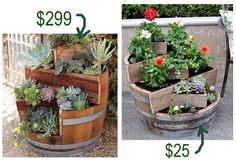 Wine barrel planter~ 6 tiers  9 separate planting areas for the DIY version..~ Awesome!!