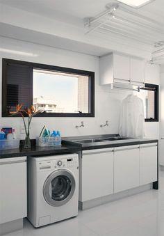 Varal em lavanderia com forro de gesso - KzaBlog