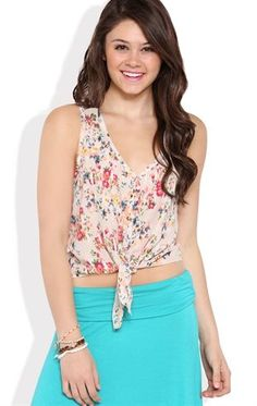 Deb Shops Sleeveless Floral Button Down Tank Top with Tie Front $14.25