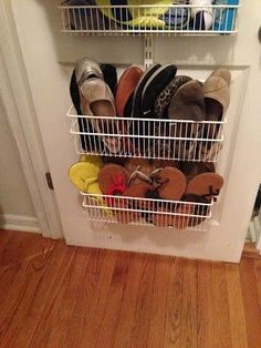 Easy way to store sandals and flats in coat closet
