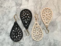 Items similar to Small Crocheted Lace Teardrop Earrings - Black or Off-white on Etsy